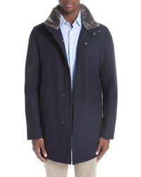 Herno Genuine Beaver Fur Collar Wool Blend Coat