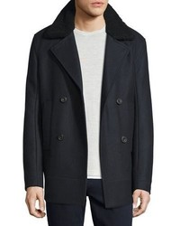 Vince Melton Wool Blend Pea Coat Wshearling Collar Navy