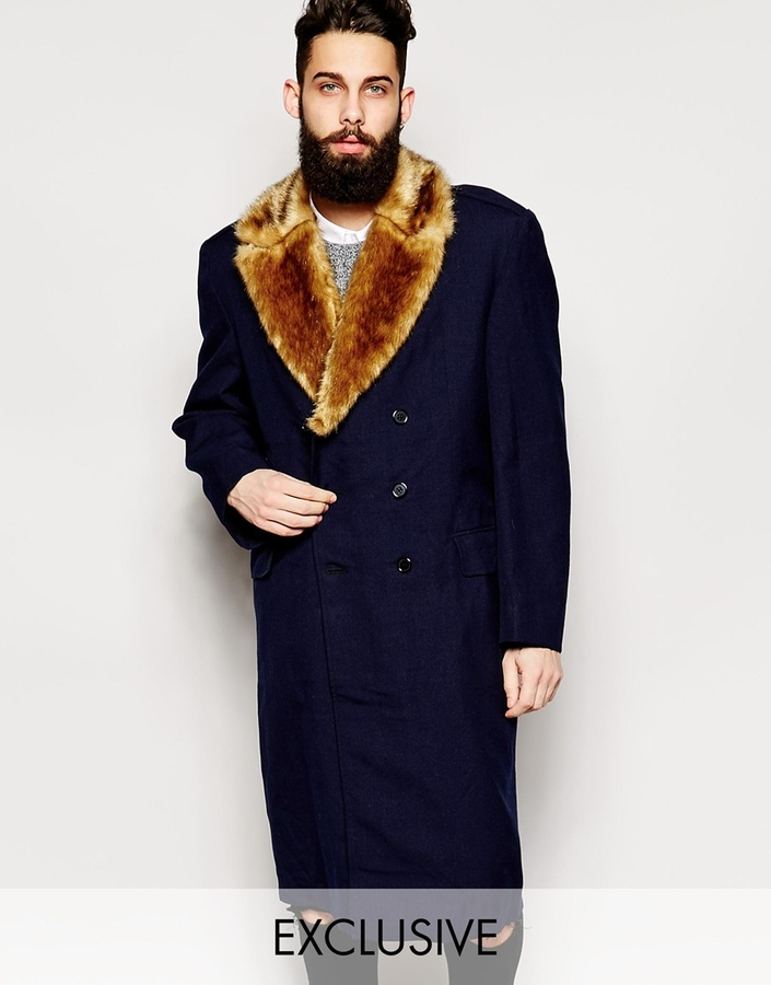 7e929029834 ... Coats Reclaimed Vintage Military Overcoat With Faux Fur Collar ...