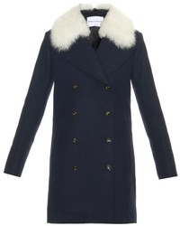 Sonia Rykiel Shearling Collar Wool Coat