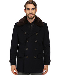 Vince Camuto Storm System Wool Melton Peacoat With Sherpa Collar Leather Details