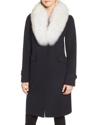 Derek Lam 10 Crosby Wool Blend Reefer Coat With Genuine Fox