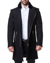 Maceoo Zip Wool Cashmere Coat With Faux