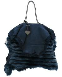 Navy Fur Crossbody Bag