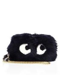 Anya Hindmarch Mini Eyes Sheep Fur Crossbody Bag