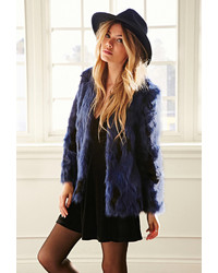 Forever 21 Collarless Two Tone Faux Fur Jacket