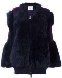 Sacai Contrast Patch Fur Jacket