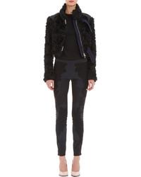 Nina Ricci Mongolian Faux Fur Moto Jacket