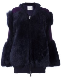 Sacai Contrast Patch Fur Jacket