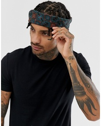 ASOS DESIGN Bandana In Navy Aztec