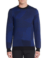 Navy Geometric Crew-neck Sweater