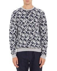 Jil Sander Geo Wave Jacquard Sweater Blue