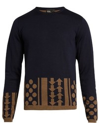 Kolor Geometric Intarsia Crew Neck Wool Sweater