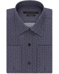 Sean John Navy Geo Print French Cuff Dress Shirt