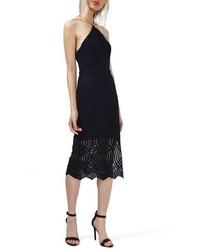 Topshop Triangle Neck Geo Lace Midi Dress
