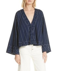 Elizabeth and James Orchid Embroidered Top