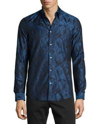 Versace Collection Grecca Geo Print Woven Sport Shirt Navy