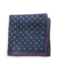 Brunello Cucinelli Medallion Linen Cotton Pocket Square