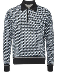 Prada Knitted Pattern Polo Shirt