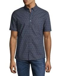Michael Kors Michl Kors Otis Geo Print Slim Fit Short Sleeve Shirt Navy