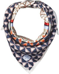 Tory Burch Mixed Geo Silk Neckerchief Scarf Scarves