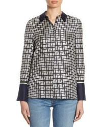 Tory Burch Marea Geometric Silk Button Down Shirt
