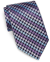 Geometric print silk tie medium 219829