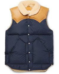 Rocky Mountain Featherbed Christy Leather Trimmed Quilted Nylon Down Gilet