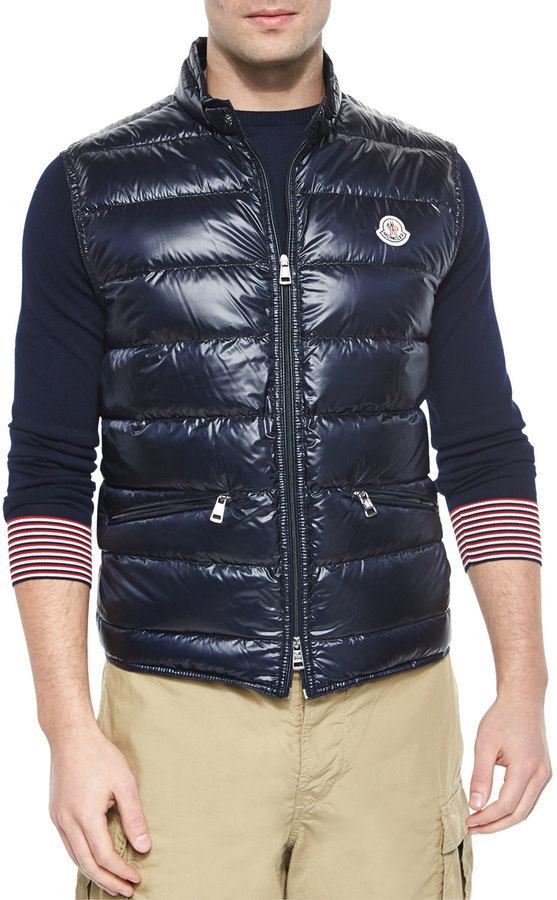 ... Gilets Moncler Gui Quilted Puffer Vest Navy ...
