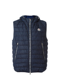 Moncler Hooded Padded Gilet Blue