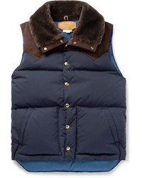 Kingsman Rocky Mountain Featherbed Suede And Shearling Trimmed Quilted Faille Down Gilet