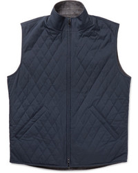 Loro Piana Marlin Reversible Quilted Shell And Wool Blend Tweed Gilet