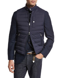Brunello Cucinelli Quilted Nylon Down Gilet Navy