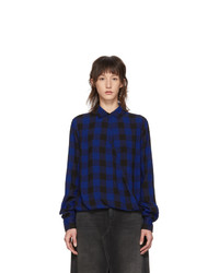 Rag and Bone Blue And Black Cross Blouse