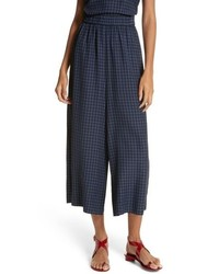 Tibi Gingham Wide Leg Crop Pants