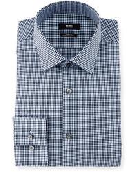 Hugo Boss Boss Mini Gingham Slim Fit Dress Shirt Navy