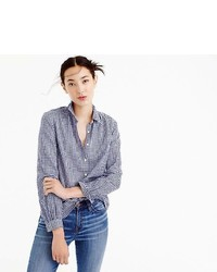 J.Crew Gathered Popover Shirt In Two Tone Gingham
