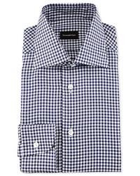 Ermenegildo Zegna Gingham Check Twill Dress Shirt Navy