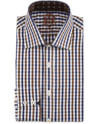 English Laundry Gingham Cotton Dress Shirt Navy Bluebrown