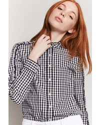 Forever 21 Gingham Ruffle Button Front Shirt