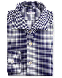 Kiton Wear Kiton Unbalanced Gingham Woven Dress Shirt Navy