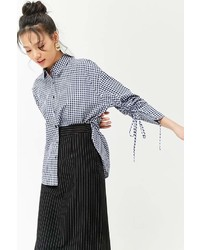 Forever 21 Ruched Sleeve Gingham Shirt