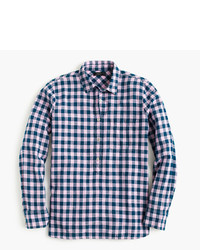 Tall gingham popover shirt in blue and lilac medium 451602