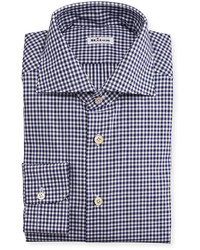 Kiton Unbalanced Gingham Woven Dress Shirt Navy