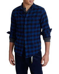 Navy Gingham Flannel Long Sleeve Shirt