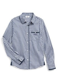 Navy Gingham Long Sleeve Shirt