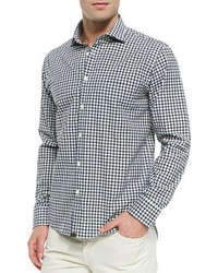 Gingham check button down shirt navy medium 80968