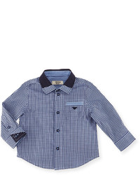 Armani Junior Long Sleeve Gingham Poplin Shirt Navy