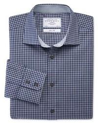 Charles Tyrwhitt Navy Gingham Melange Business Casual Slim Fit Shirt