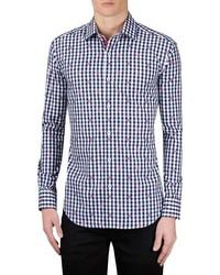 Shaped fit gingham sport shirt medium 4422903